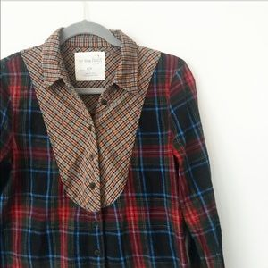 Free People dark flannel button down size small